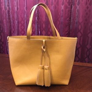 Merona large yellow faux leather tote purse tassel
